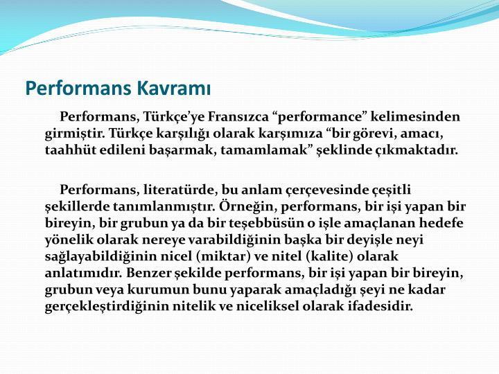 Performans Kavram