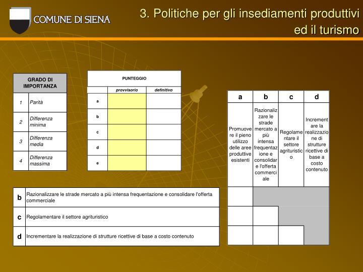 3. Politiche per gli insediamenti produttivi
