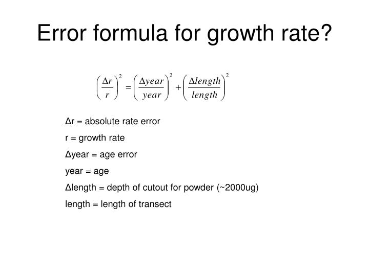 Error formula for growth rate?