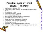 possible signs of child abuse history