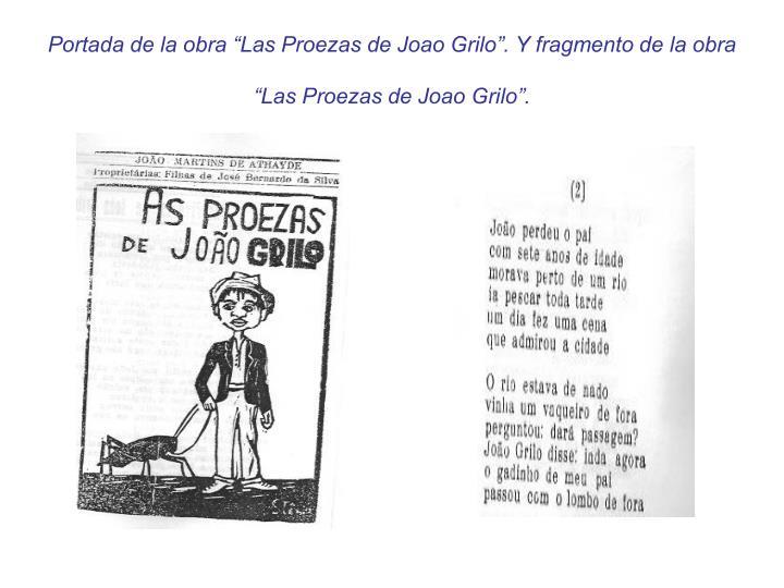 """Portada de la obra """"Las Proezas de Joao Grilo"""". Y fragmento de la obra """"Las Proezas de Joao Grilo""""."""