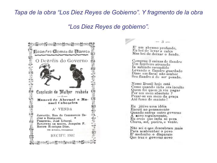 """Tapa de la obra """"Los Diez Reyes de Gobierno"""". Y fragmento de la obra """"Los Diez Reyes de gobierno""""."""