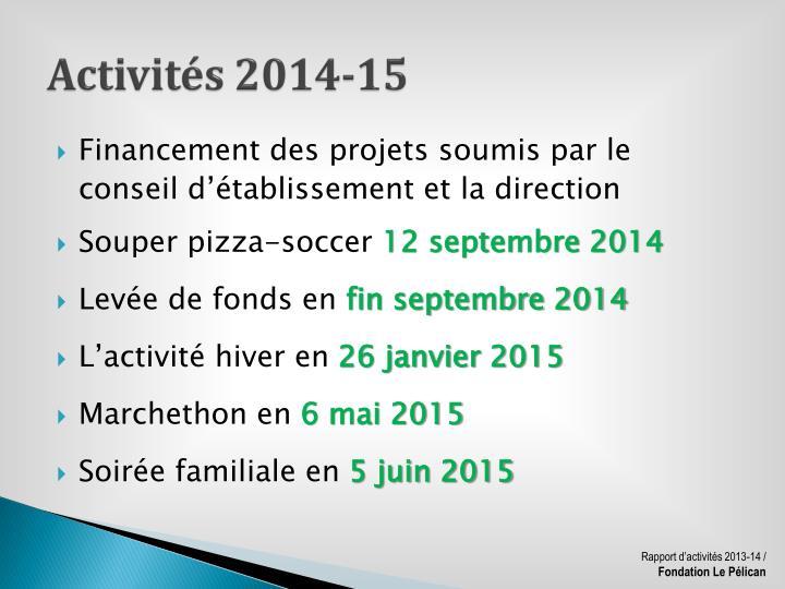 Activités 2014-15