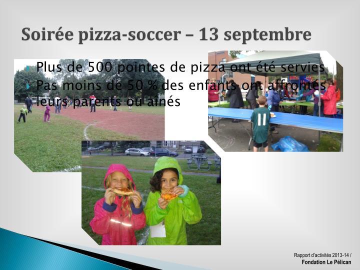 Soirée pizza-soccer – 13 septembre