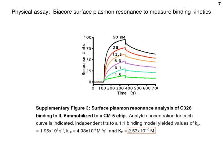 Physical assay:  Biacore surface plasmon resonance to measure binding kinetics