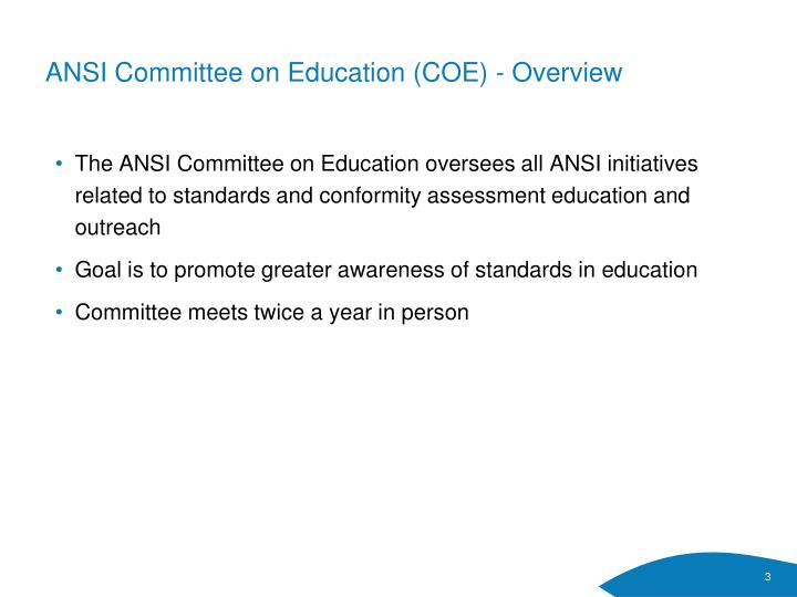 ANSI Committee on Education (COE) - Overview