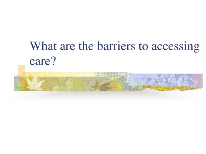 What are the barriers to accessing care?