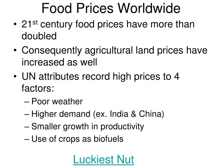 Food Prices Worldwide
