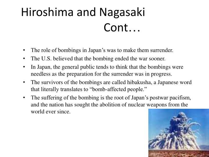 Hiroshima and Nagasaki       Cont