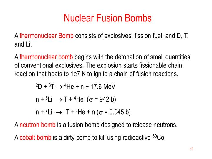 Nuclear Fusion Bombs