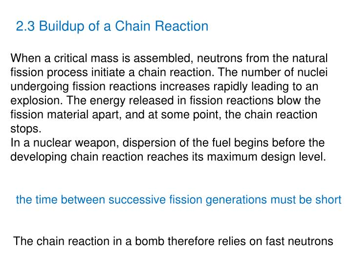 2.3 Buildup of a Chain Reaction