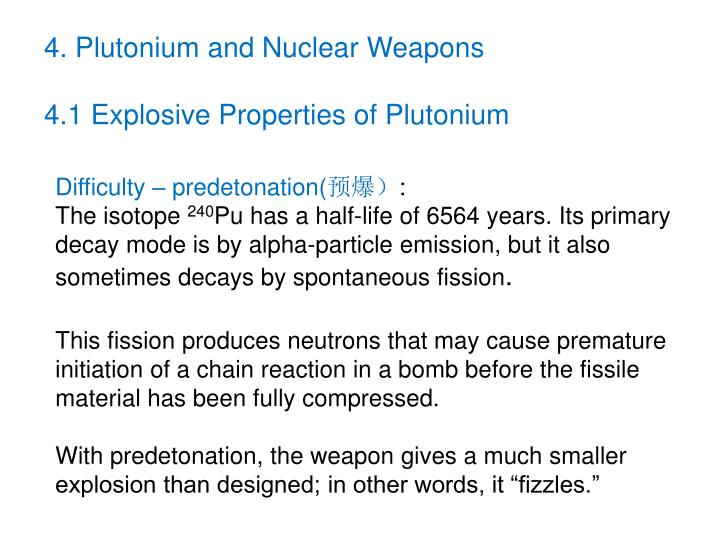 4. Plutonium and Nuclear Weapons