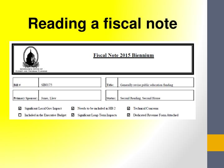 Reading a fiscal note