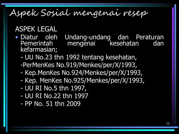Aspek Sosial mengenai resep
