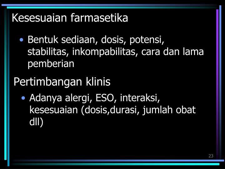 Kesesuaian farmasetika