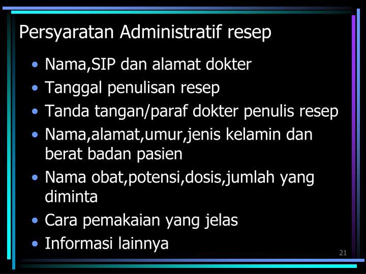 Persyaratan Administratif resep