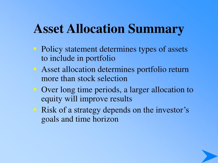 Asset Allocation Summary