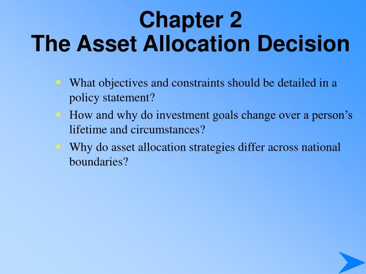 Chapter 2 the asset allocation decision1