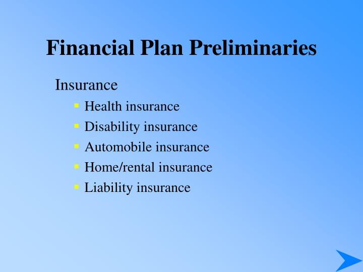 Financial Plan Preliminaries