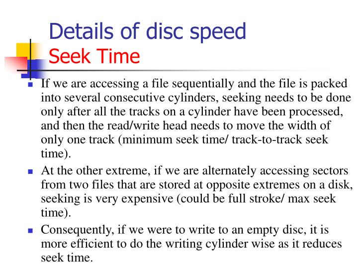 Details of disc speed