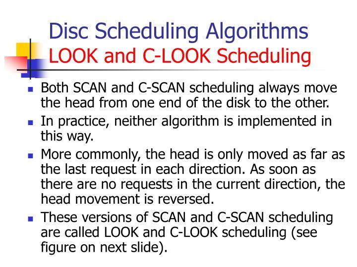 Disc Scheduling Algorithms