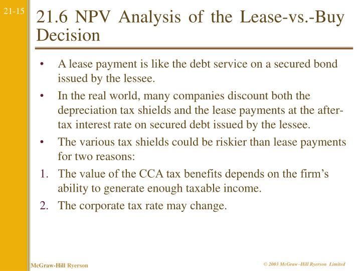 21.6 NPV Analysis of the Lease-vs.-Buy Decision