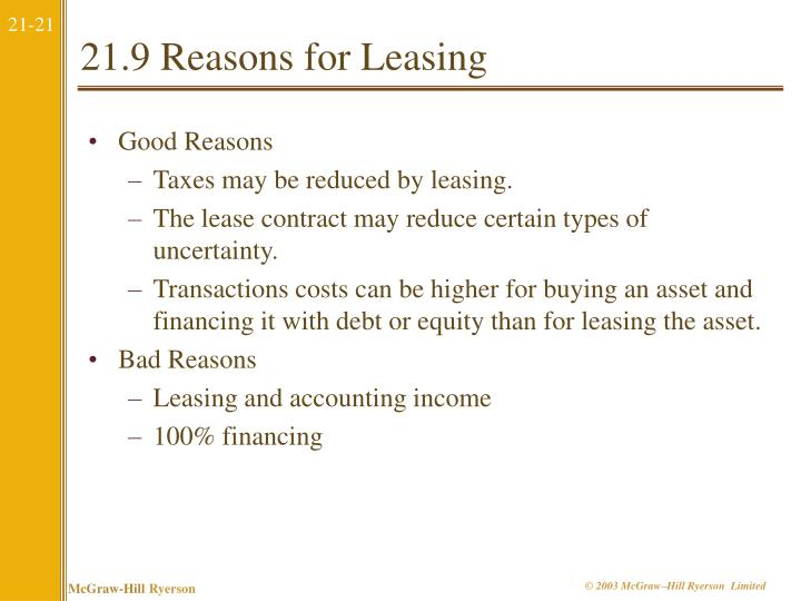 21.9 Reasons for Leasing