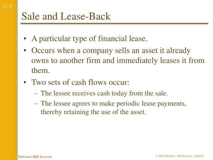 Sale and Lease-Back