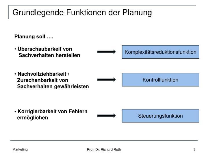 Grundlegende Funktionen der Planung