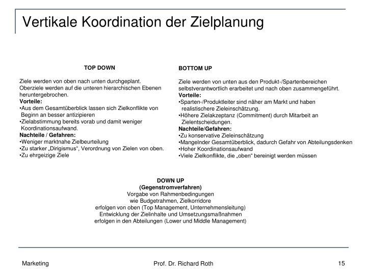 Vertikale Koordination der Zielplanung
