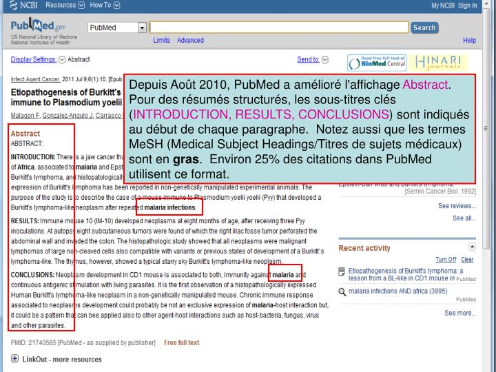 Depuis Août 2010, PubMed a amélioré l'affichage