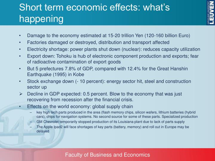 Short term economic effects: what's happening