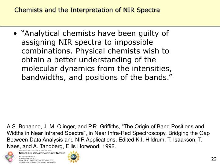 Chemists and the Interpretation of NIR Spectra