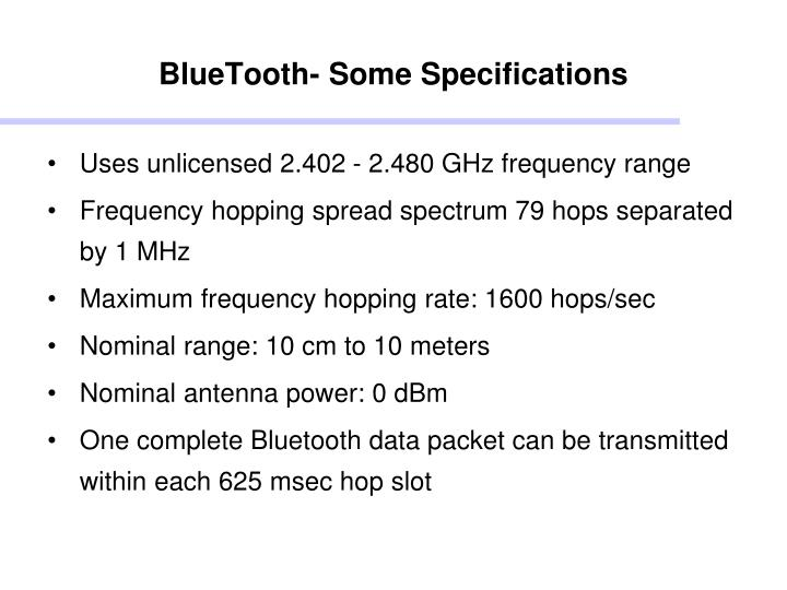 BlueTooth- Some Specifications