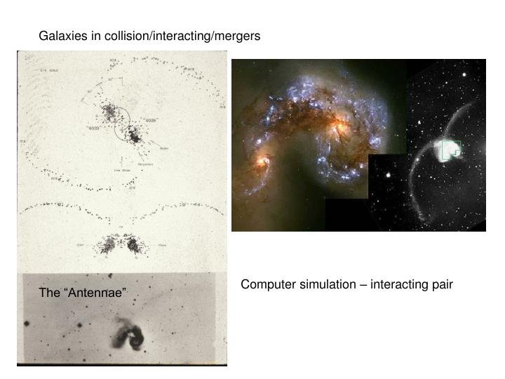 Galaxies in collision/interacting/mergers