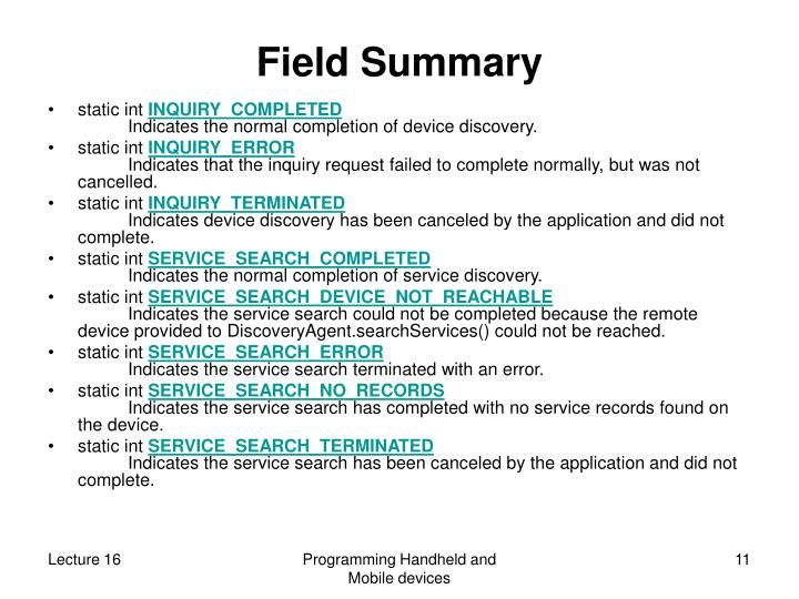 Field Summary
