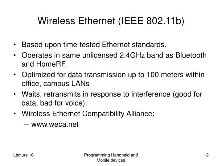 Wireless ethernet ieee 802 11b