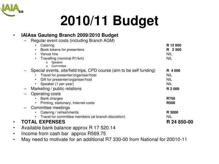 2010/11 Budget
