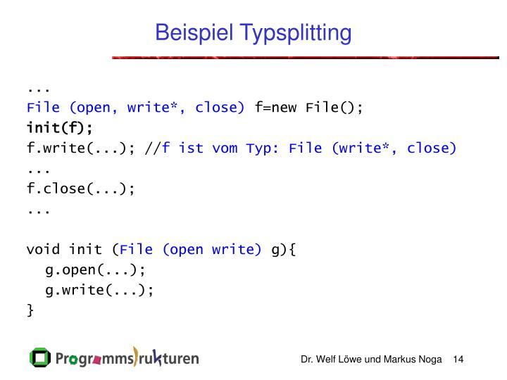 Beispiel Typsplitting
