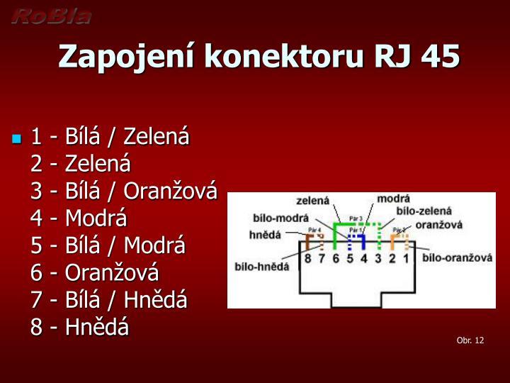 Zapojení konektoru RJ 45