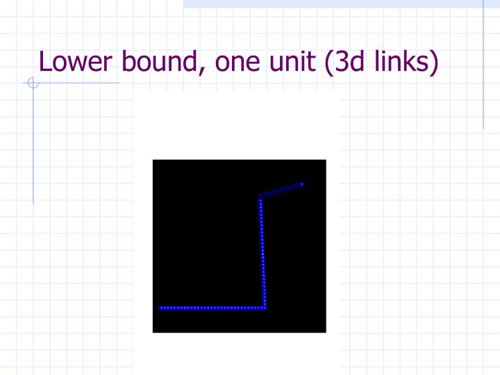 Lower bound, one unit (3d links)
