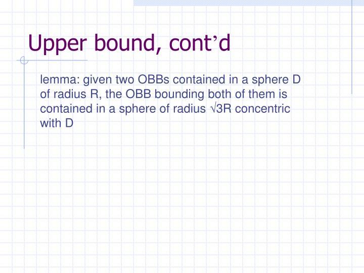 Upper bound, cont