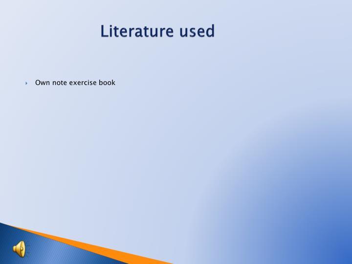 Literature used