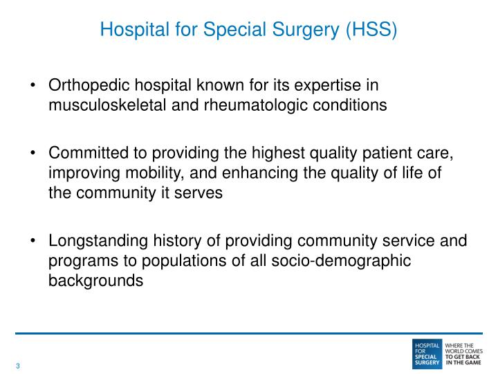 Hospital for special surgery hss