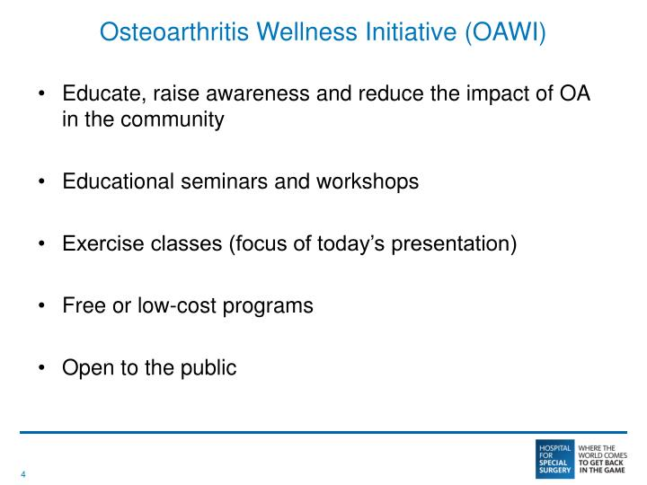 Osteoarthritis Wellness Initiative (OAWI)