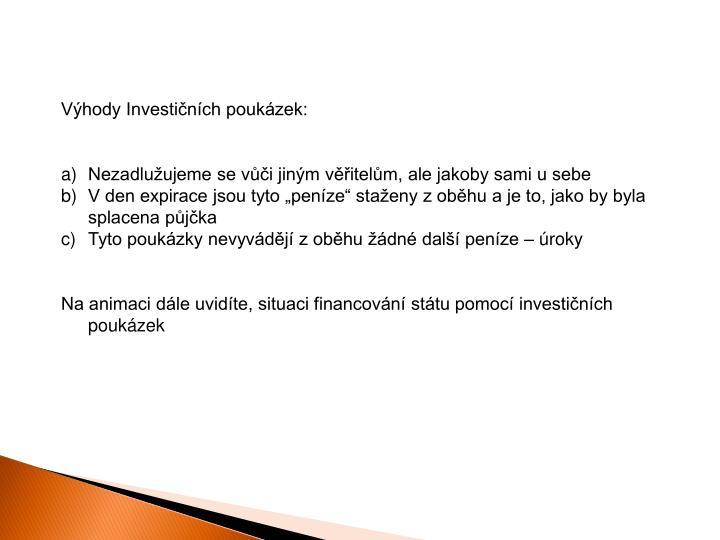 Výhody Investičních poukázek: