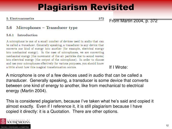 Plagiarism Revisited