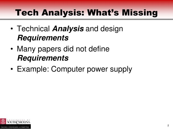 Tech Analysis: What's Missing