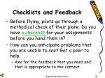 checklists and feedback