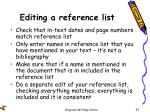 editing a reference list